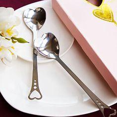 amantes de los corazones de acero inoxidable cuchara de favores de la boda del (juego de 2) – USD $ 1.99