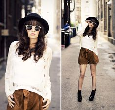 H&M Hat, Sweater, H&M Sunglasses, Scalloped Shorts, Asos Boots,