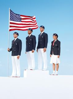 This product image released by Ralph Lauren shows U. Olympic athletes, from left, swimmer Ryan Lochte, decathlete Bryan Clay, rower Giuseppe Lanzone and soccer player Heather Mitts modeling the the official Team USA Opening Ceremony Parade Uniform. 2012 Summer Olympics, Us Olympics, Winter Olympics, Beijing Olympics, Olympic Athletes, Olympic Team, Olympic Games, Team Usa, Sports