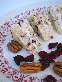 Cranberry Pecan Tea Sandwiches 1 block of cream cheese, softened 3 tablespoons dried cranberries, chopped 2 tablespoons pecans, chopped Combine all ingredients in food processor and pulse until mixture has a light, whipped texture. Yields 1 cup of spread. Tea Party Sandwiches, Finger Sandwiches, Christmas Sandwiches, Tea Recipes, Cooking Recipes, Tea Sandwich Recipes, Recipies, Onigirazu, Little Lunch