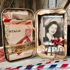 The Papered Soiree: Sending All My Love in an Altoid tin; Shadow Light Box, Shadow Box, Altered Tins, Altered Art, Curiosity Box, Matchbox Crafts, Mint Tins, Tin Art, Vintage Display