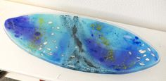 Fused glass - oval plate, 37 cm, with seals in copper