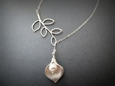 Calla Lily and Branch Lariat Necklace in STERLING SILVER CHAIN--Perfect Gift for mom Birthday Present for her and Weddings Gift. on Etsy, $26.00