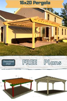 This is a step by step project on how to build a 16x20 pergola. This pergola is sturdy and easy to build. PDF download and Print friendly. Full Cut and Shopping lists included in the free plans. #pergola #largepergola #diypergola Backyard Patio Designs, Pergola Designs, Backyard Landscaping, Free Pergola Plans, Diy Pergola, Modern Pergola, Building A Pergola, Budget Patio, Diy Shed