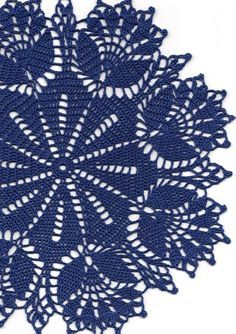 Crochet Doily Lace doilies Table decoration Crocheted Doilies Centrepiece Hand Made Wedding Doily Napkin Boho Bohemian Decor Round Navy BlueHand crochet beautiful doily, made from navy blue crochet cotton. Diameter about Will be adorable decoration a Crochet Dollies, Crochet Doily Patterns, Thread Crochet, Crochet Motif, Crochet Lace, Crochet Stitches, Hand Crochet, Doily Wedding, Small Centerpieces