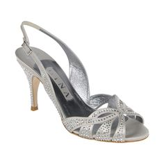 A truly original GINA signature sling back sandal available in soft light grey silk satin fully encrusted with Swarovski 'Crystal' diamante complimented by an 85mm stiletto heel.