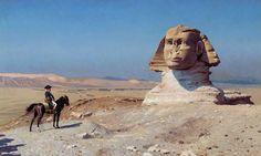 "Bonaparte Before the Sphinx ""In Napoleon Bonaparte changed history. In Jean-Leon Gerome showed us why. Ancient Egypt, Ancient History, Art History, History Online, Anubis, Le Sphinx, Sphinx Egypt, Jean Leon, Academic Art"