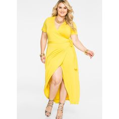 Ashley Stewart Wrap Front Maxi Dress ($34) ❤ liked on Polyvore featuring dresses, sexy dresses, women plus size dresses, sexy wrap dress, short-sleeve maxi dresses and plus size dresses