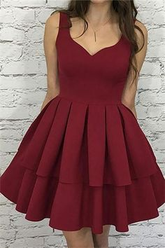 Burgundy Homecoming Dresses,Short Homecoming Dress with straps,Ruffled Homecoming Dress - Wishingdress Burgundy Homecoming Dresses Short, Simple Homecoming Dresses, Hoco Dresses, Dresses For Teens, Simple Dresses, Women's Dresses, Cute Dresses, Dress Outfits, Graduation Dresses