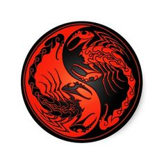 Red and Black Yin Yang Scorpions Round Sticker