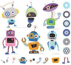 Robots Clipart Clip Art Cute Robots Party Little Birthday Party Digital Scrapbook Metal Tin Robots DIY invitation cards 10480