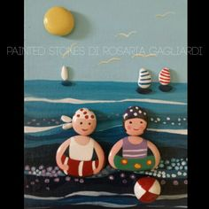 Piccoli bagnanti Pebble Painting, Pebble Art, Stone Painting, Pebble Pictures, Stone Pictures, Stone Crafts, Rock Crafts, Pebble Stone, Stone Art