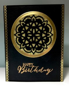 I just had to make a black and gold card using the Eastern Palace Suite! I then put a piece of gold glimmer paper behind my cut out...