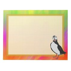 Grid Lined Puffin Colorful 8.5x11 Note Pad
