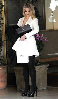 Dianna Agron wearing Yves Saint Laurent Tribtoo Pumps Saint Laurent Cassandra Clutch Christian Dior Spring 2013 Flared Blazer Dress