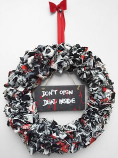 Walking Dead Fabric Wreath by CosmicZombies on Etsy