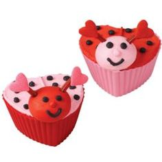 Turn your heart-shaped cupcakes into Valentine Love-Bugs! Simply add a figure-piped icing head and licorice antenna with Heart Sprinkle and dot details.