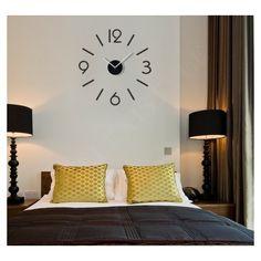 Černé dekorační hodiny do obýváku - dumdekorace.cz Wall Colors, Colours, Diy Clock, Metal Walls, Modern Wall, Interior Decorating, Wall Lights, Etsy, Bed