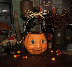 Primitive Vtg Style Dealer Retro Halloween Paper Mache Jack-O-Lantern Bucket #NaivePrimitive