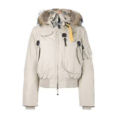 P.J.S. Raccoon and Rabbit Fur Trim Puffer Jacket ($830) ❤ liked on Polyvore featuring outerwear, jackets, beige, feather jacket, puffy jacket, pink jacket, pink feather jacket and puffer jacket