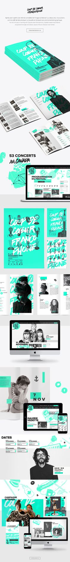 The design for the 2014 music festival Coup de cœur francophone.Created at Akufen.Illustrations by Arno Jean.2013 design by Philippe Cossette.Brochure in collaboration with Sarah Gobeil.Web Design by Catherine Marois.Executions by Sarah Rousseau a…