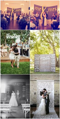 Wedding ceremony ideas using words.. Love the top one!  Although the woman usually stands on the left