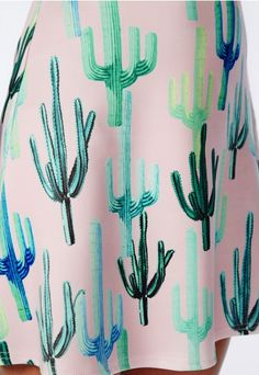 Cactus Print Scuba A Line Skirt Pink - Skirts - Missguided