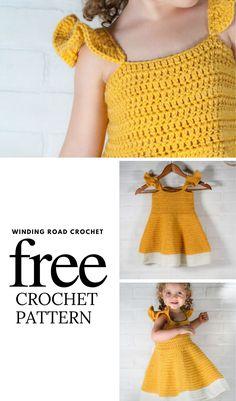 Crochet Baby Dress Free Pattern, Little Girl Dress Patterns, Crochet Toddler Dress, Crochet Dress Girl, Crochet Baby Cardigan, Baby Girl Crochet, Crochet Baby Clothes, Crochet Baby Dresses, Free Baby Crochet Patterns