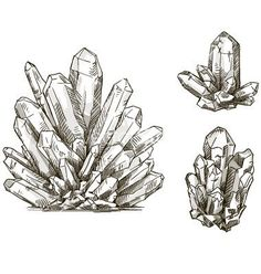 Set of crystals drawings vector by kamenuka on VectorStock® This would be a cool birth stone tattoo. Color this amethist purple and add a couple emeralds and bam! You have my family Illustrations, Illustration Art, Crystal Illustration, Engraving Illustration, Drawing Sketches, Art Drawings, Sketch Art, Crystal Drawing, Stone Tattoo