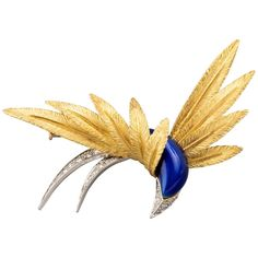 Gold Platinum Enamel and Diamonds French Paradise Bird Brooch