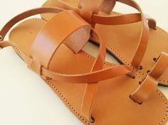 Women Leather Light Brown Flat Sandals  Greek by Leatherhood, €31.20