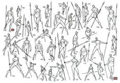 Drawing more action poses; women poses with spear. Action Pose Reference, Figure Drawing Reference, Art Reference Poses, Drawing Poses Male, Sketch Poses, Sketch Ideas, Sword Drawing, Drawing Base, Female Action Poses