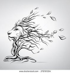 The head of a lion in the form of a tree - stock vector: