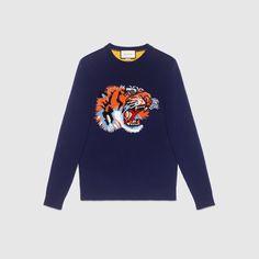 Wool sweater with tiger intarsia