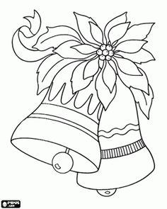 Decorative bells and the Christmas flower coloring page - bjl