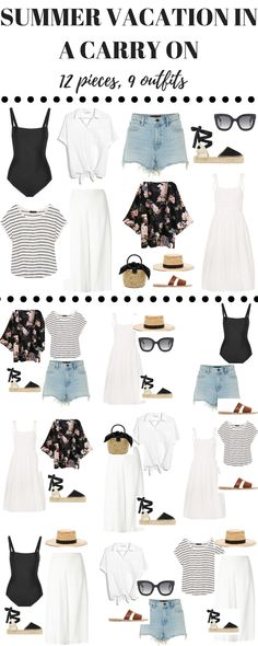 Here are cute summer outfits ideas to show you how you can pack your summer vacation outfits in a carry on! Beach Holiday Outfits, Summer Vacation Outfits, Cute Summer Outfits, Trendy Outfits, Cute Outfits, Spring Vacation, Outfits Spring, Beach Vacation Clothes, Beach Vacation Wardrobe