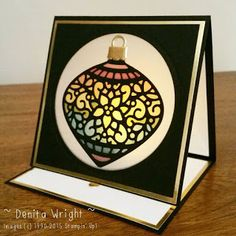 Denita Wright - Independent Stampin' Up! Demonstrator Australia. My Stained Glass Ornament Easel card. Using the elegant 'Delicate Ornaments Thinlits'.
