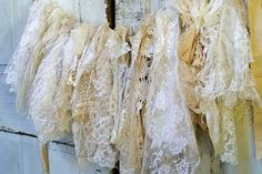 Shabby chic lace fabric garland wall hanging homemade romantic white cream vanilla home decor Christmas decoration Anita Spero Lace Garland, Fabric Garland, Garlands, Lace Ribbon, Lace Fabric, Cowboy Chic, Home Wallpaper, Shabby Chic Cottage, Vintage Country