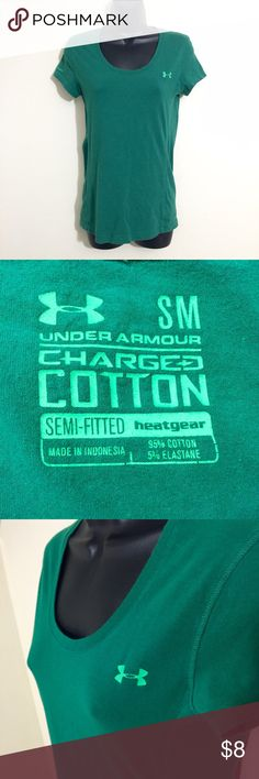 Under Armour green charged cotton t shirt Size small. Good condition. A couple small cracks on front logo. Semi fitted. Very comfortable. Under Armour Tops Tees - Short Sleeve