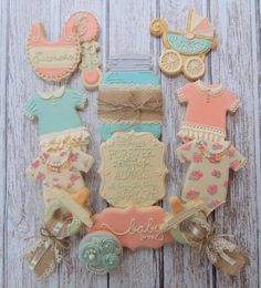Shabby Chic Baby Shower Cookies Handmade and Decorated by FlourishCakes on Etsy Baby Cookies, Baby Shower Cookies, Cute Cookies, Sugar Cookies, Galletas Decoradas Baby Shower, Shabby Chic Cookies, Comida Para Baby Shower, Shabby Chic Baby Shower, Girl Shower