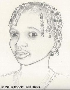 Original Pencil Drawing Young Beauty by Robert by RobertPaulHicks, $113.00