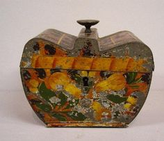 Unusual tea caddy, apple silhouette with original golden brown japanning and black leopard spots Tea Canisters, Tea Tins, Tole Painting, Painting On Wood, Antique Chest, Cuppa Tea, Leopard Spots, Tea Box, Leather