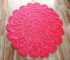 Giant Crochet Doily Rug in Magenta Lace by EvaVillain on Etsy, $99.00