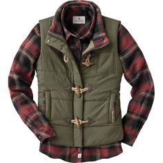 Women's Plaid Lined Quilted Puffer Vest at Legendary Whitetails> awesome vest Puffer Vest Outfit, Vest Outfits, Cute Outfits, Fall Winter Outfits, Autumn Winter Fashion, Winter Clothes, Winter Style, Vogue, Quilted Vest