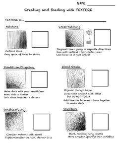 elements of art worksheets Teaching Drawing, Drawing Practice, Drawing Skills, Drawing Lessons, Teaching Art, Art Lessons, Drawing Drawing, Shading Techniques, Art Techniques