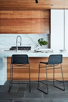 Modern natural wood, minimalistic kitchen (GlobeWest - Olivia Barstools | Styling: Ruth Welsby | Photography: Mike Baker)