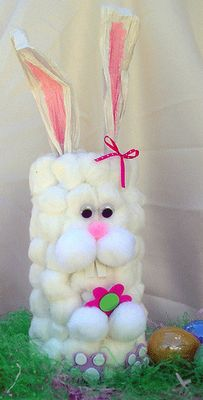 DIY Cotton Ball Container Bunny -using a pringles or stax container gluing cotton balls to the outside