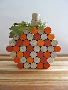 Wine Cork Pumpkins Fall Autumn Centerpiece by LizzieJoeDesigns