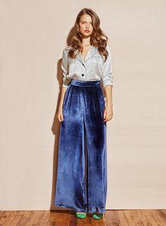 cd00d73e30 Fleur du Mal midnight blue Velvet Wide Leg Pant. High waisted pant in  velvet is
