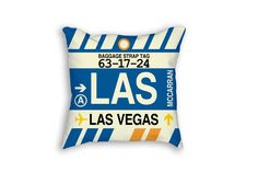 LAS Las Vegas Airport Code Baggage Tag Pillow